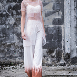 White copper paint pants