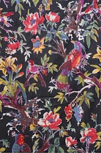 INDIEN Fågelblom mörkgrå/färgmix
