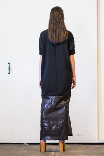 Batwing långklänning svart/metallic